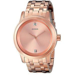 Stunning Round Rose Gold-Tone Diamond Watch Unisex